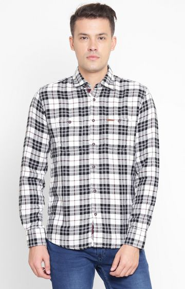 Crimsoune Club | White Checked Casual Shirt