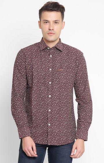 Crimsoune Club | Maroon Printed Casual Shirt