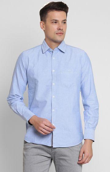Crimsoune Club   Blue Solid Casual Shirt