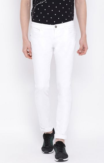 Crimsoune Club | White Solid Slim Fit Jeans