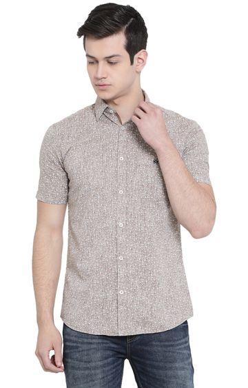 Crimsoune Club | Light Brown Printed Casual Shirt