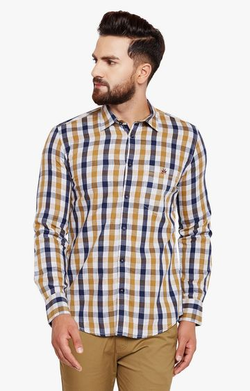 Crimsoune Club | Mustard Checked Casual Shirt