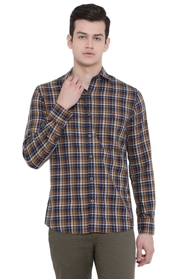 Crimsoune Club | Yellow Checked Casual Shirt