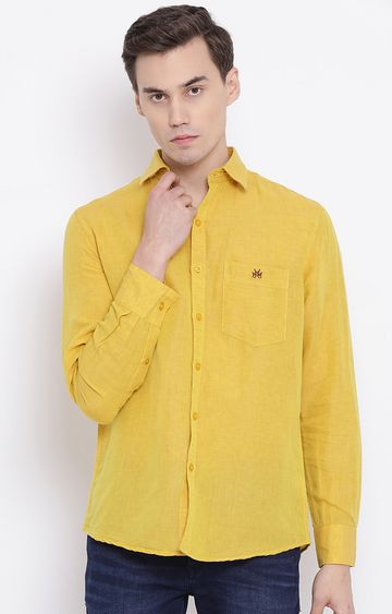 Crimsoune Club | Yellow Solid Casual Shirt