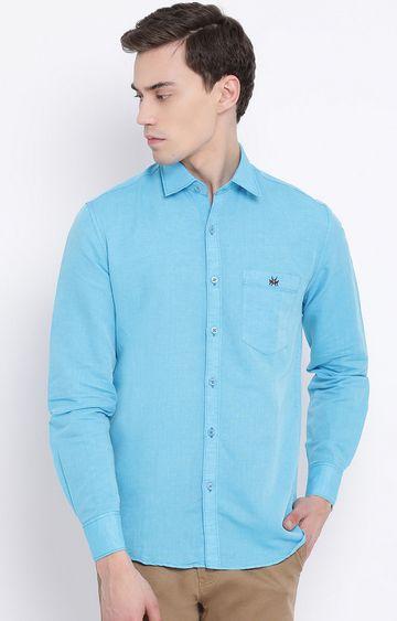 Crimsoune Club | Blue Solid Casual Shirt