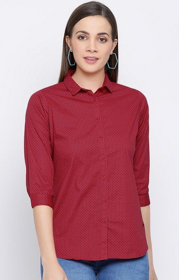Crimsoune Club | Red Printed Casual Shirt