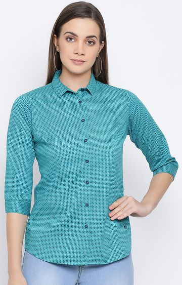 Crimsoune Club | Blue Printed Casual Shirt