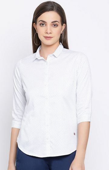 Crimsoune Club | White Printed Casual Shirt
