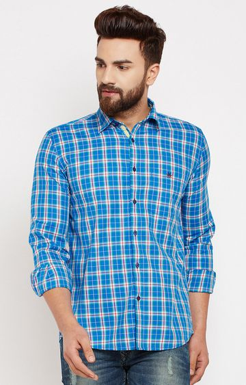 Crimsoune Club | Blue Checked Casual Shirt