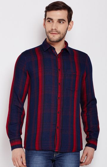 Crimsoune Club | Red Striped Casual Shirt