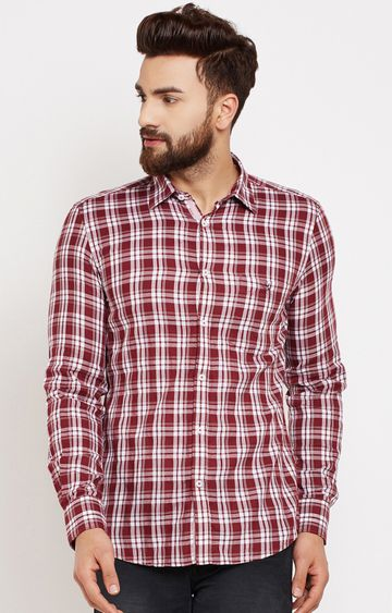 Crimsoune Club   Red Checked Casual Shirt