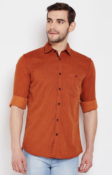 Crimsoune Club | Red Printed Casual Shirt