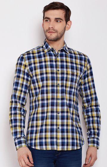 Crimsoune Club | Navy Blue Checked Casual Shirt