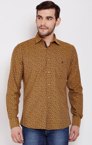Crimsoune Club | Mustard Printed Casual Shirt