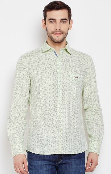 Crimsoune Club | Green Printed Casual Shirt
