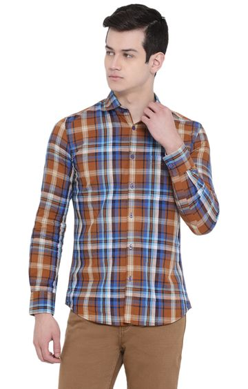 Crimsoune Club | Yellow and Blue Checked Casual Shirt