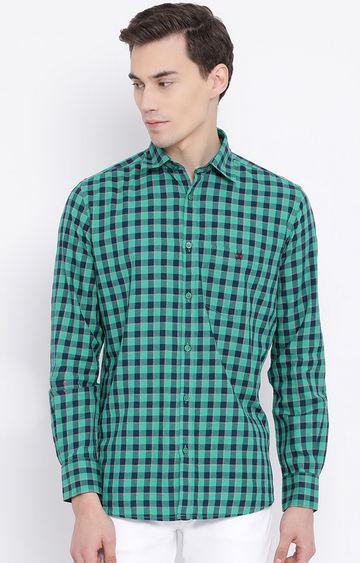 Crimsoune Club | Green Checked Casual Shirt