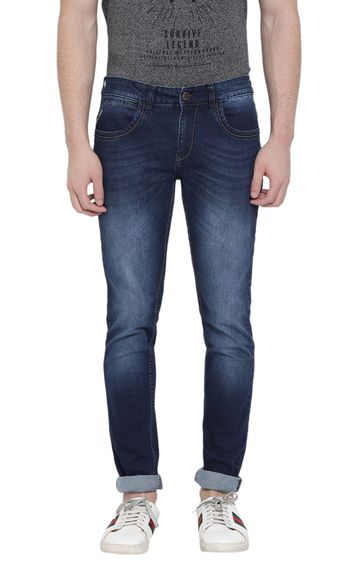 Crimsoune Club | Blue Solid Tapered Jeans
