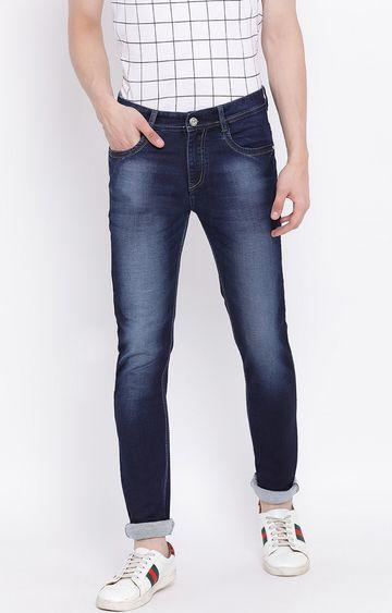 Crimsoune Club | Blue Solid Slim Fit Jeans