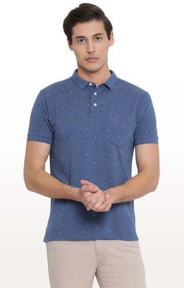 Crimsoune Club | Blue Printed Polo T-Shirt
