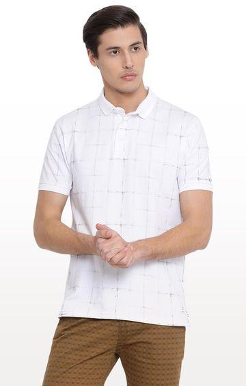 Crimsoune Club | White Checked Polo T-Shirt