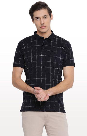 Crimsoune Club | Black Checked Polo T-Shirt
