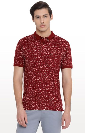 Crimsoune Club | Red Printed Polo T-Shirt
