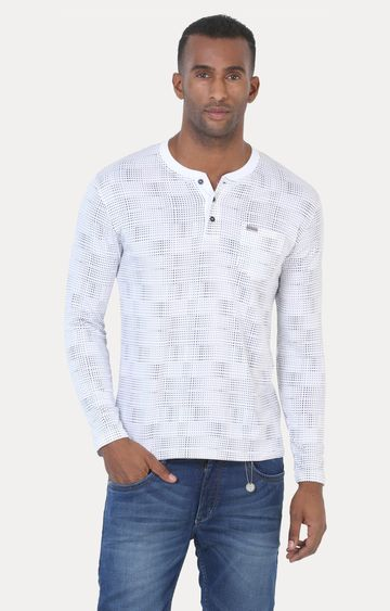 Crimsoune Club | White and Navy Printed T-Shirt