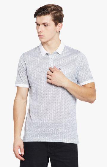 Crimsoune Club | Grey Checked Polo T-Shirt