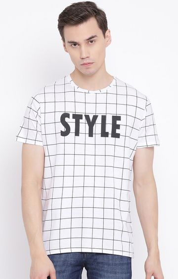 Crimsoune Club | White Checked T-Shirt