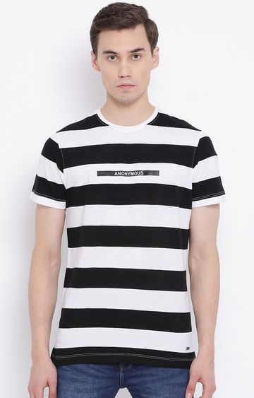 Crimsoune Club | White and Black Striped T-Shirt