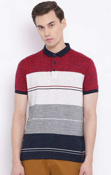 Crimsoune Club | Multicoloured Striped Polo T-Shirt