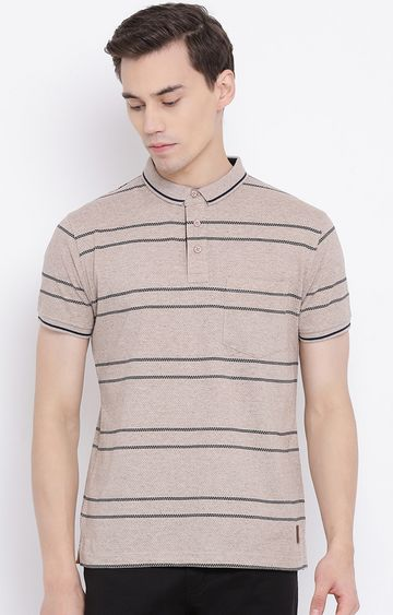 Crimsoune Club | Brown Striped Polo T-Shirt