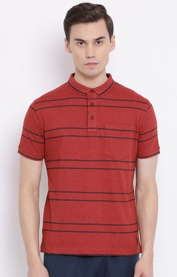 Crimsoune Club | Red Striped Polo T-Shirt