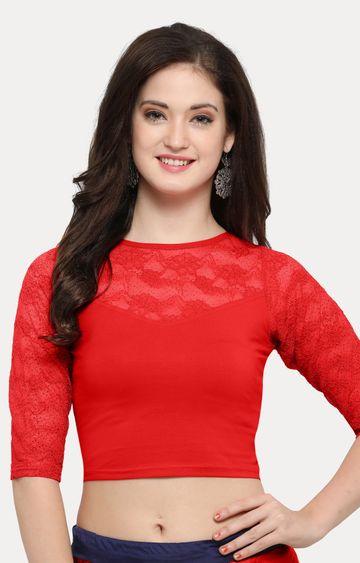 Janasya   Red Solid Blouse