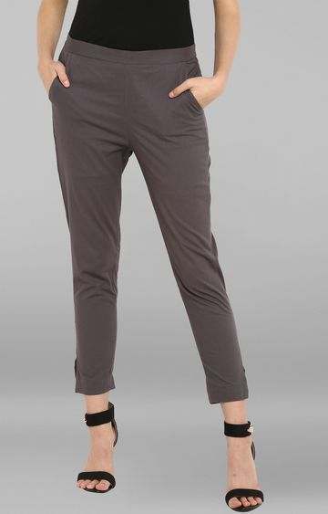 Janasya | Grey Solid Narrow Pants