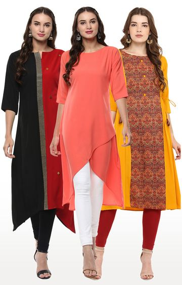 Janasya | Multicoloured Printed Asymmetric Kurta - Pack Of 3