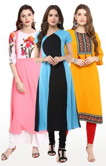 Janasya   Multicoloured Printed Kurta - Pack Of 3