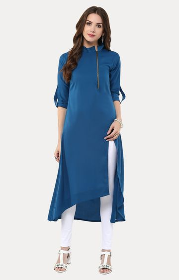 Janasya | Blue Solid Asymmetric Kurta