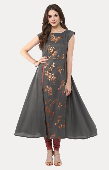 Janasya | Grey Printed Anarkali