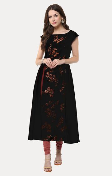 Janasya | Black Printed Anarkali