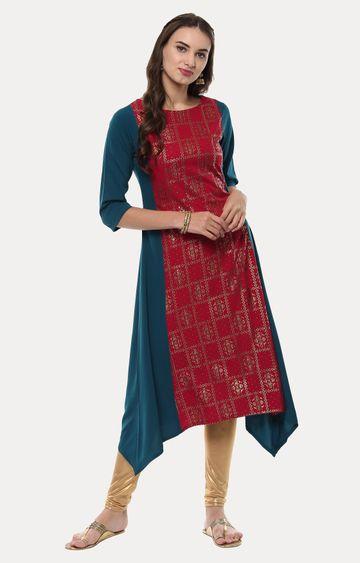 Janasya | Red and Teal Printed Asymmetric Kurta