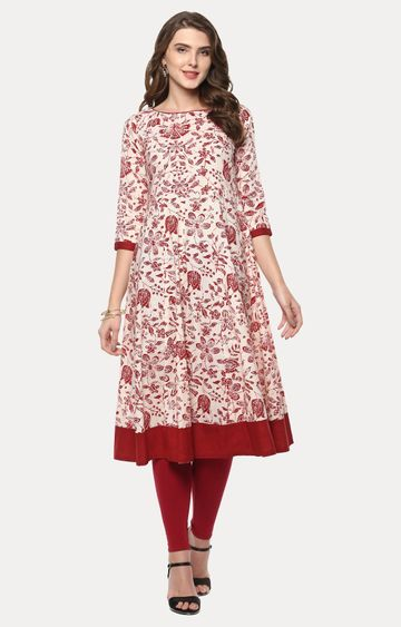 Janasya | Beige and Red Printed Kurta