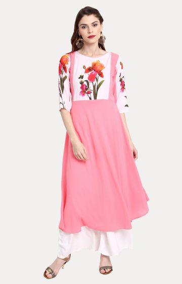 Janasya | Pink Printed Asymmetric Kurta
