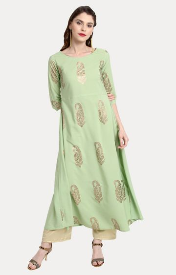 Janasya | Light Green Printed Kurta