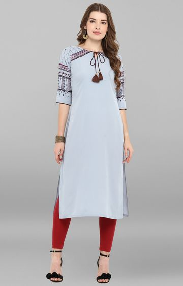 Janasya | Grey Solid Regular Kurta