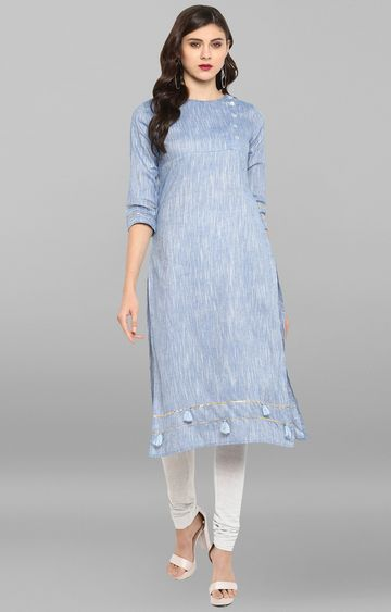 Janasya | Blue Printed Regular Kurta