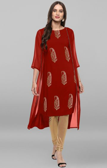 Janasya | Red Printed Asymmetric Kurta