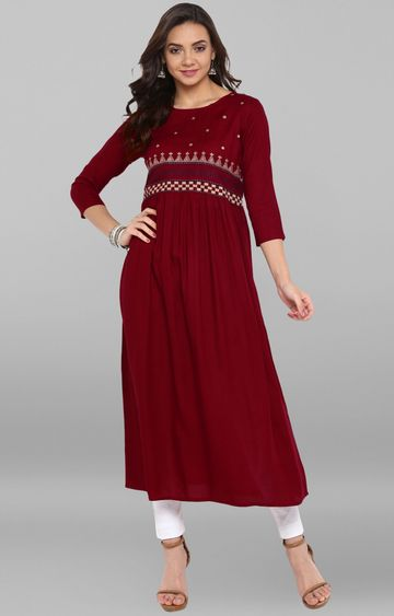 Janasya | Maroon Embroidered Kurta