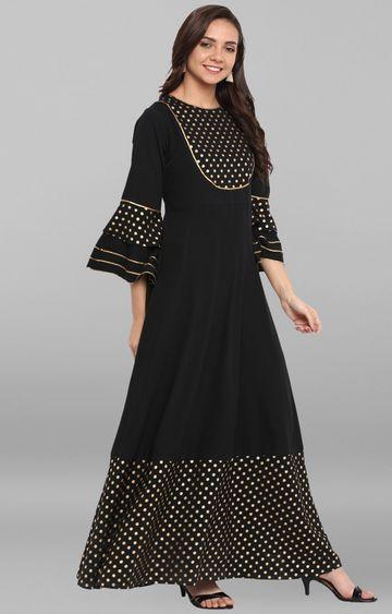 Janasya | Black Printed Kurta